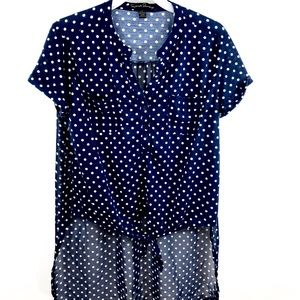 EUC French Laundry Polka Dots Blouse Sheer Size L